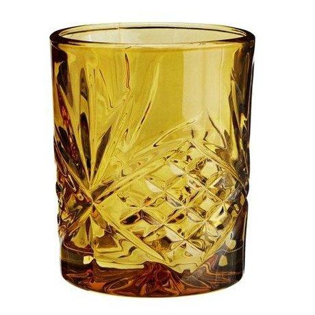 Madam Stoltz Limonade verre jaune ambre verre ∅8x10cm