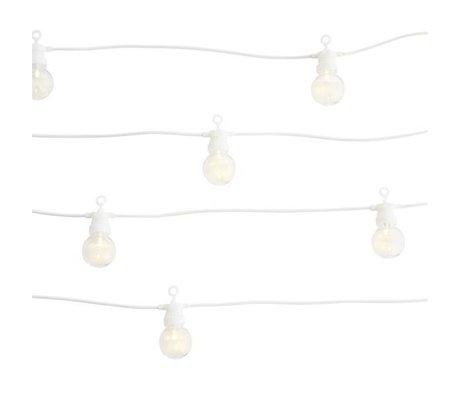 Madam Stoltz Leichte Kette aus weißem Kunststoff 8,5m 10 LED