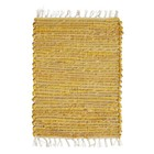 Madam Stoltz Set de table jaune naturel marron coton jute 33x48cm