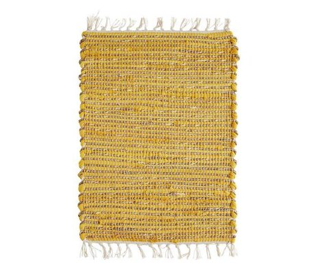 Madam Stoltz Set de table jaune naturel marron coton jute 33x48cm