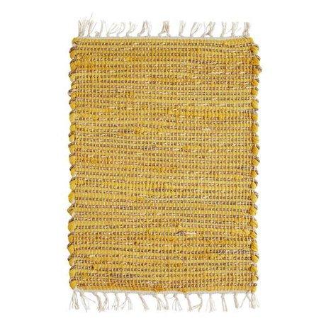 Madam Stoltz Tischset gelb naturbraun jute baumwolle 33x48cm