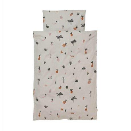 Ferm Living Housse de couette Fruiticana Baby multicolore coton 70x100cm avec taie d'oreiller 46x40cm