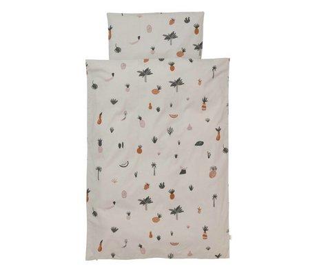 Ferm Living Housse de couette Fruiticana Junior coton multicolore 100x140cm avec taie d'oreiller 46x40cm
