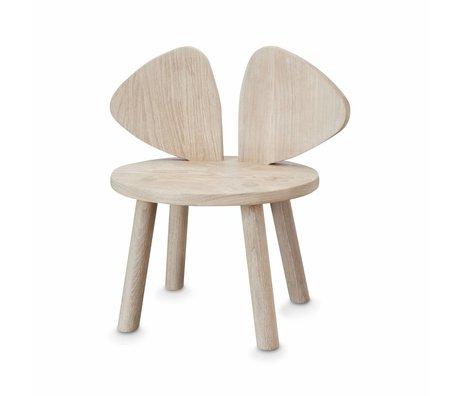 NOFRED Chaise pour enfant Souris naturel brun bois 35x45x28cm