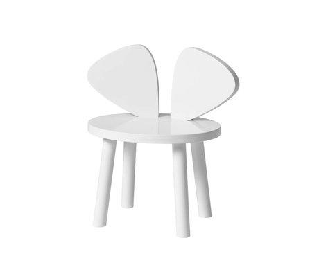 NOFRED Chaise enfant Souris blanc bois 35x45x28cm