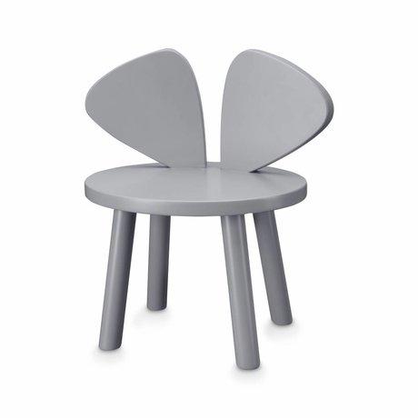 NOFRED Peuterstoel Mouse grijs hout 35x45x28cm