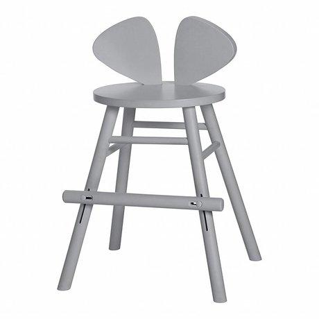 NOFRED Tabouret pour enfant Souris gris bois 40,3x53x32,8cm