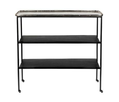 Zuiver Trolley Gusto zilver zwart metaal 80x26x73,5cm