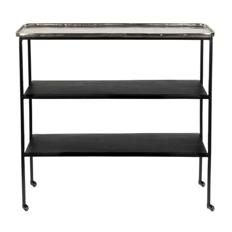Zuiver Trolley Gusto silver black metal 80x26x73,5cm