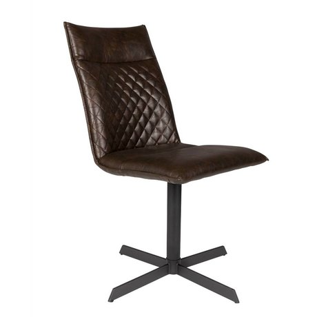 LEF collections Chair Rio dark brown PU leather 47x 61.5x 89.5 cm