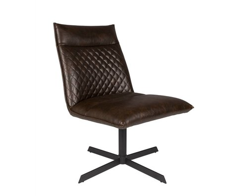 LEF collections Fauteuil ivar dark brown PU leather 58x70,5x68,5cm