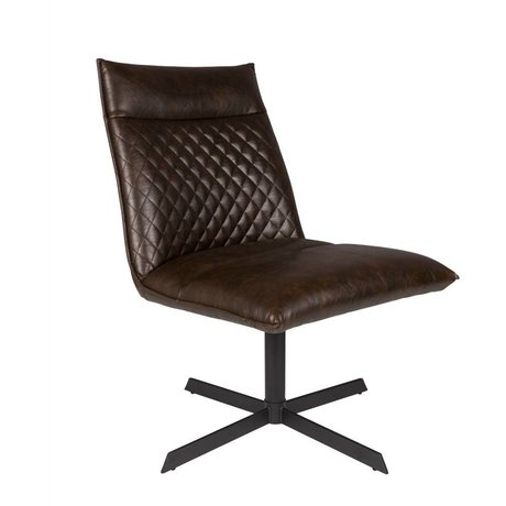 LEF collections Fauteuil Rio donker bruin PU leer 58x70,5x68,5cm