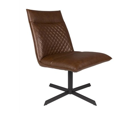LEF collections Armchair ivar brown PU leather 58x70,5x68,5cm