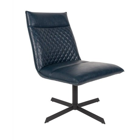 LEF collections Fauteuil Rio blauw PU leer 58x70,5x68,5cm