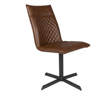 LEF collections Chair Rio brown PU leather 47x 61.5x 89.5 cm