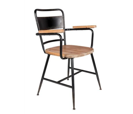 LEF collections Stoel Tokio bruin zwart hout metaal 55x54,5x82cm