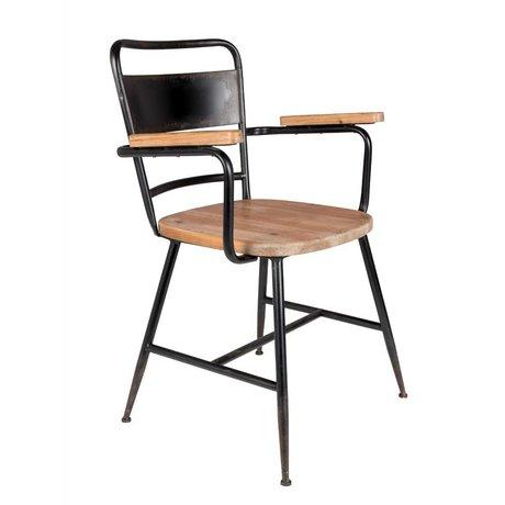 LEF collections Chaise Tokyo brun bois noir métal 55x54,5x82cm