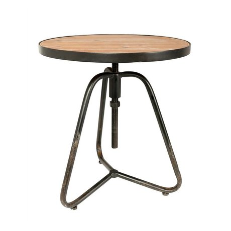 LEF collections Table d'appoint Helsinki brun noir métal bois Ø45,5x44,5 / 60cm