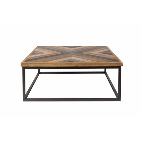 LEF collections Coffee table Denver brown black wood metal 81x81x32cm