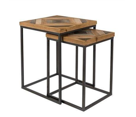 LEF collections Beistelltisch Denver braun schwarz Holz Metall 2er Set