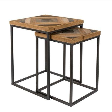 LEF collections Bijzettafel Denver bruin zwart hout metaal set van 2