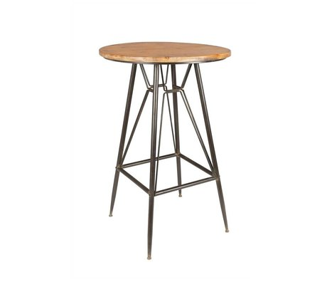 LEF collections Table de bar Berlin bois brun métal Ø65x99cm