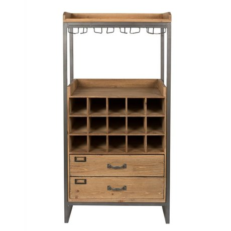 LEF collections Kabinetkast Moscow bruin hout metaal 56x38x112,5cm