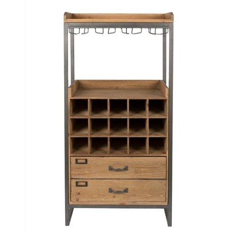 LEF collections Schrank Schrank Moskau braunes Holz Metall 56x38x112,5cm