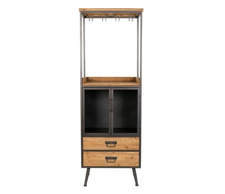 LEF collections Cabinet cupboard Oslo high brown gray wood metal 60x40x171cm