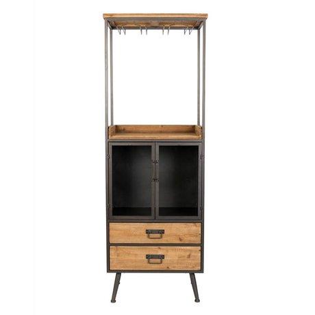 LEF collections Kabinetkast Oslo high bruin grijs hout metaal 60x40x171cm