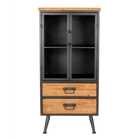 LEF collections Wardrobe cupboard Oslo low brown gray wood metal 52x40x109cm