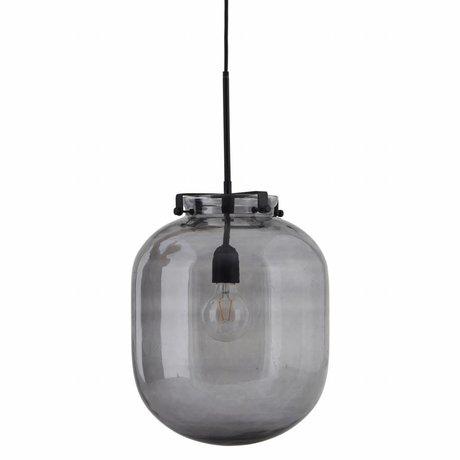 Housedoctor housedoctor suspension lampe boule gris verre métal 30x30x35cm