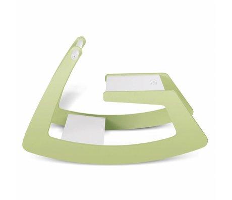 Jupiduu Cheval à bascule vert caméléon vert blanc bois 74x37x47cm