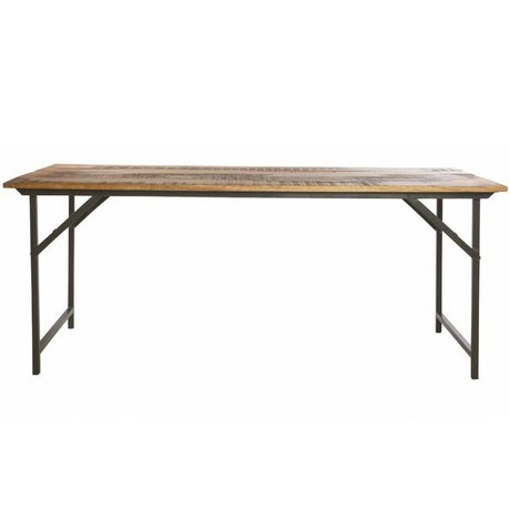 Housedoctor Dining table 'Party' gray metal / wood brown 180x80x74 cm