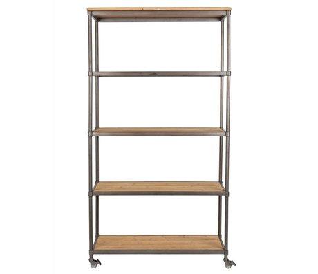 LEF collections Cabinet Nairobi bois gris métal gris 100x39x184cm