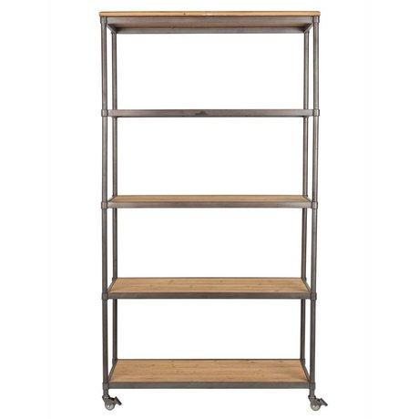 LEF collections Schrank Nairobi braun grau Holz Metall 100x39x184cm