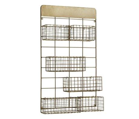 Madam Stoltz Wall rack with baskets of gold brass 46x11x77cm