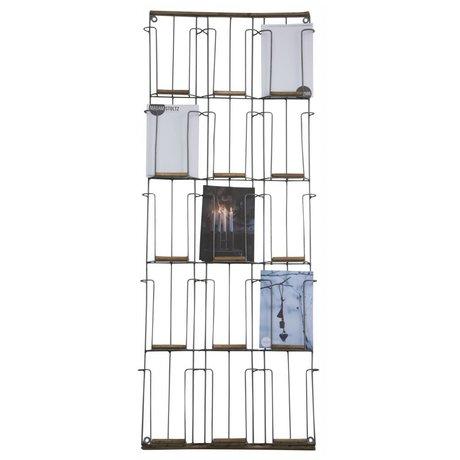 Madam Stoltz Porte-cartes en fer noir bois 31x97cm