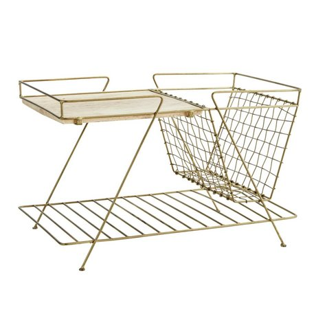 Madam Stoltz Sidetable Magazine gold metal wood 51x33x33cm