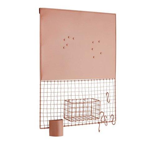 Madam Stoltz Wall rack magnet copper metal 50x11x66cm