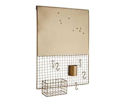 Madam Stoltz Wall rack magnet gold metal 50x11x66cm