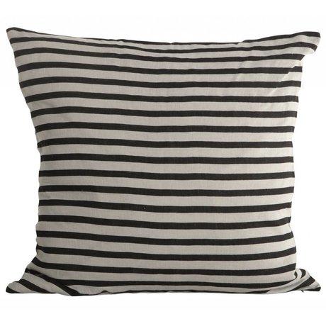 Housedoctor Kissenbezug Stripes schwarz grau Leinen 50x50cm