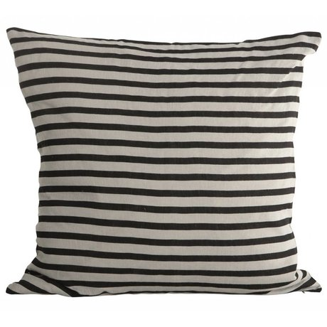 Housedoctor Kussenhoes Stripes zwart grijs linnen 50x50cm
