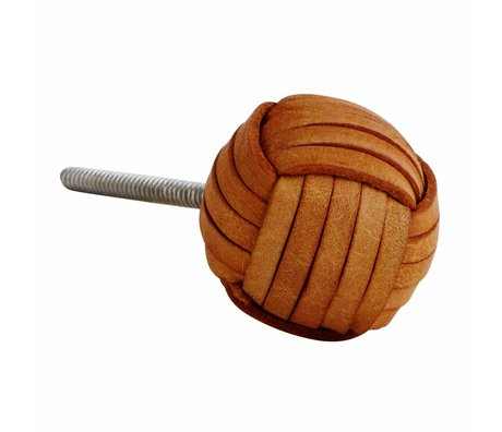Madam Stoltz Doorknob natural brown leather iron 3,5cm