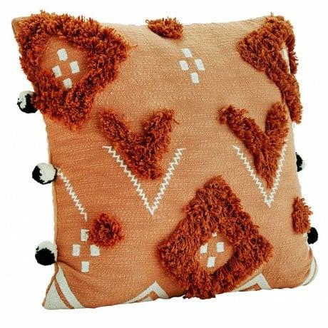 Madam Stoltz Pillow case Pom Pom orange cotton 50x50cm