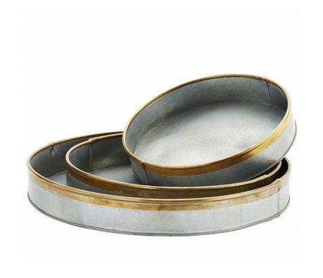 Madam Stoltz Dienblad grijs brass goud metaal set van 3
