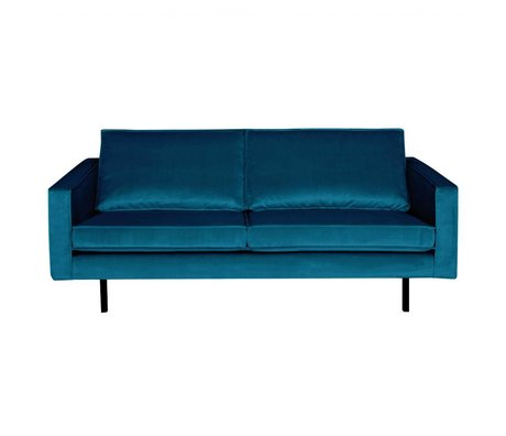 BePureHome Bank Rodeo 2,5 places velours velours bleu 190x86x85cm