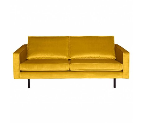 BePureHome Sofa Rodeo 2.5-seater ocher yellow velvet velvet 190x86x85cm