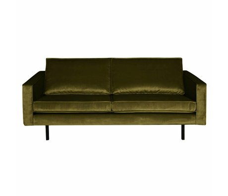 BePureHome Bank Rodeo 2,5 places velours velours vert olive 190x86x85cm