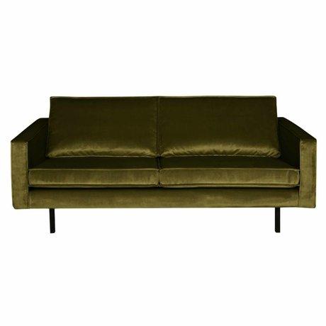 BePureHome Sofa Rodeo 2,5-Sitzer olivgrüner Samt Samt 190x86x85cm